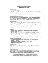 madeline hunter lesson plan format with two objectives graphic
