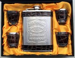 Jack Daniels Gift Set Jack Daniels Stainless Steel Hip Flask Gift Set Box 8 Oz 230 Ml