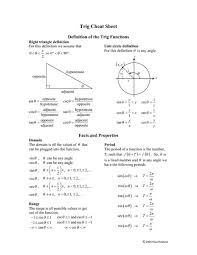 trig cheat sheet 10th 12th grade worksheet lesson planet