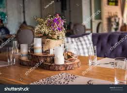 candles restaurant decor candle pine cones stock photo 663879403