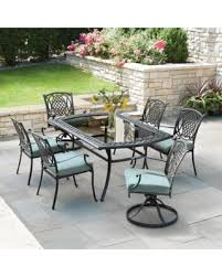 Metal Outdoor Dining Chairs Fall Savings On Hampton Bay Belcourt 7 Piece Metal Outdoor Dining