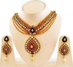 antique necklace set images 22k gold choker style necklace set ajns60061 22k gold antique jpg