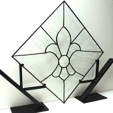 Fleur De Lis Utensil Holder Hand Crafted Stained Glass Fleur De Lis Panel P 15 By Terraza