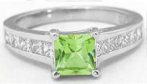 peridot engagement rings princess cut peridot and princess cut diamond ring in 14k white