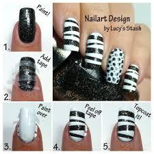 tape u0026 stamp u0027 monochrome nail art withtutorial lucy u0027s stash