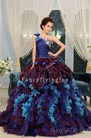 multi color wedding dress one shoulder multi colored quinceanera dresses 2012 h 2437