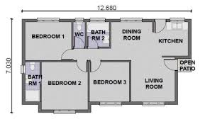 Small 2 Bedroom House Plans 3 Bedroom 2 Bathroom House Plans South Africa 8 Cool Design For A