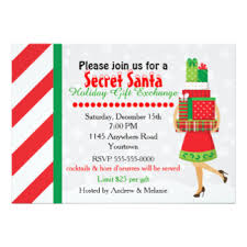 secret santa exchange invitations u0026 announcements zazzle