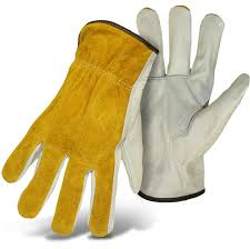 Split Cowhide Cowhide Leather Driver With Grain Palm Split Back Boss Gloves