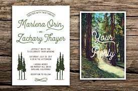 retro redwoods wedding invitation and postcard rsvp retro