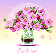 Flower Glass Design Pink Flower With Glass Cup Design Vector Vector Flower Free Download