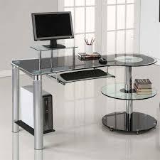 Glass Modern Desk Innovex Dp1225g29 Orbit Tempered Glass Top Laptop Pc