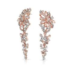 chandeliers earrings rose gold plated crystal flower chandelier earrings