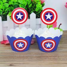 captain america cake topper 24pcs fashion fashion captain america kids birthday