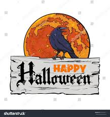 halloween candy background drawn old wooden board text happy halloween stock vector 675497611