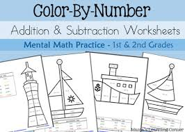 Color By Number Math Worksheets Color By Number Addition And Subtraction Worksheets Mental Math