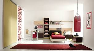 white painted bedroom combined with rectangle red bedroom rug on