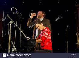 myleene klass and guy garvey lead singer of elbow performing