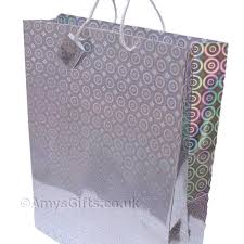 gift bags silver holographic gift bag