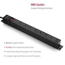 wall mount pdu bestten 8 outlet rack mount pdu 1u 15a 125v aluminum alloy