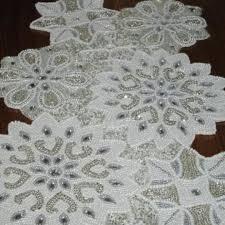 white and silver table runner glass beaded silver white snowflake table runner 36 sateen back ebay
