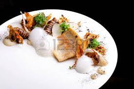 cuisine haute haute cuisine white fish fillet with potato stock photo