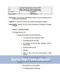 pdf warehouse standard operating procedure template 28 pages