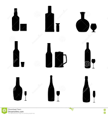 alcohol vector silhouette alcohol bottles with glasses stock vector image