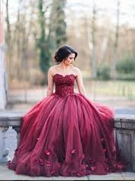 wedding dress maroon gorgeous sweetheart floor length burgundy organza wedding dress