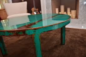 distressed metal coffee table custom round metal coffee table art with beautiful turquoise and