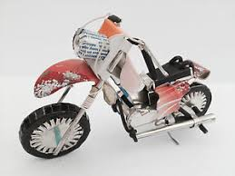 handmade recycle tin can motorbike motorcycle bike ornament