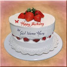 strawberry birthday cake with custom name for girls floral