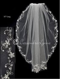 bridal veil with pearl flower vine embroidery cassandra lynne