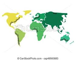 asia map with labels multicolored world map divided to six continents in vector