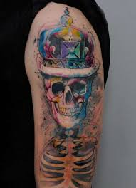 skull with crown arm tattoo tattoo shortlist