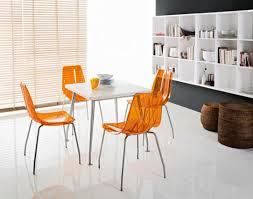 dining room small orange modern acrylic dining chairs orange