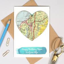 personalised map heart watercolour birthday card by bombus