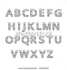 aztec ethnic ornamental font white stock illustration