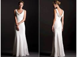 silk crepe sheath style white wedding dress with cowl detail in