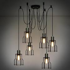 Wire A Chandelier 6 Industrial Iron Cage Chandelier Tudo Co Tudo And Co