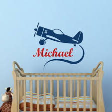 Nursery Wall Decals For Baby Boy Airplane Wall Decal Personalized Boy From Fabwalldecals On Etsy