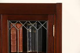 sold craftsman mahogany 1910 antique bookcase leaded glass