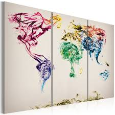 World Map Artwork by Canvas Painting The World Map Colored Smoke Trails Triptych