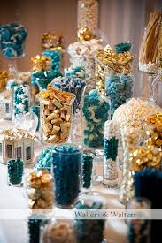 blue and gold fillings in clear vases picmia