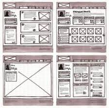 sketched wireframe wireframe web design news and user interface