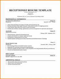 resume template for receptionist sle of receptionist resume resumess franklinfire co skills