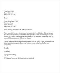 Exle Letter Request Annual Leave letter for vacation request city espora co