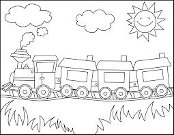 drawn cartoon train pencil and in color drawn cartoon train