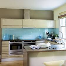 Grey Blue Cabinets Combined Blue Color Cream For Comfortable Atmosphere In The