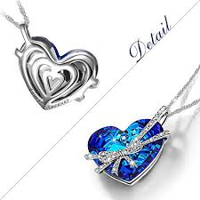 blue heart crystal necklace images The shoe club qianse heart of the ocean bowtie pendant jpg